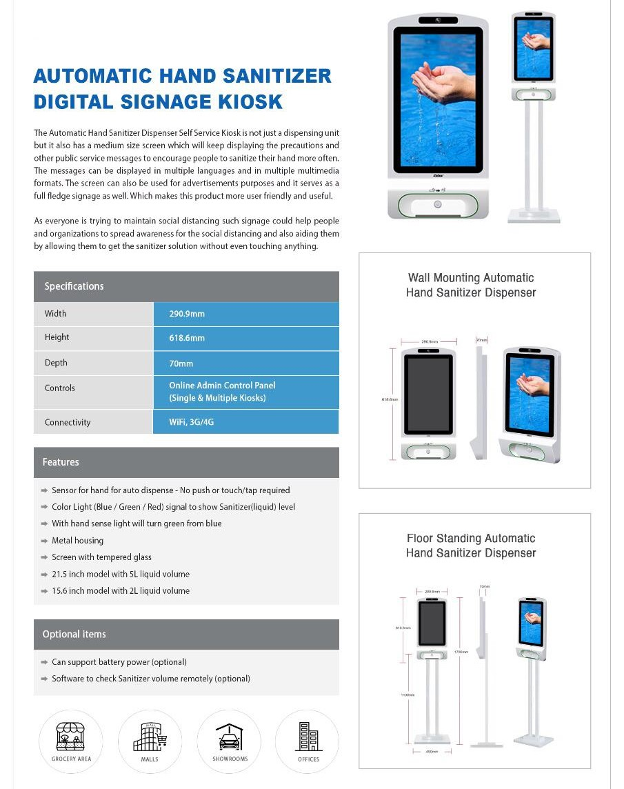 Automatic Hand Sanitizer with Digital Signage Kiosk
