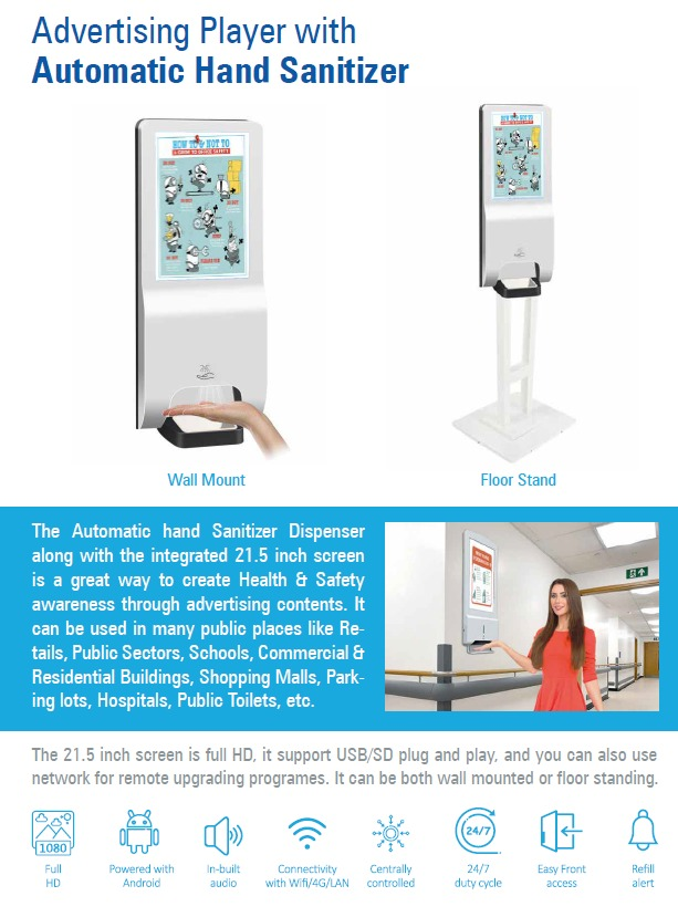 Digital Signage with Automatic Hand Sanitizer Kiosk