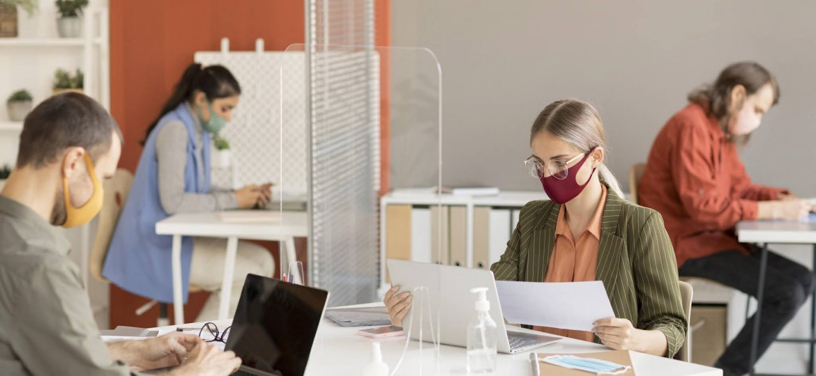 co-workers-wearing-face-mask-work